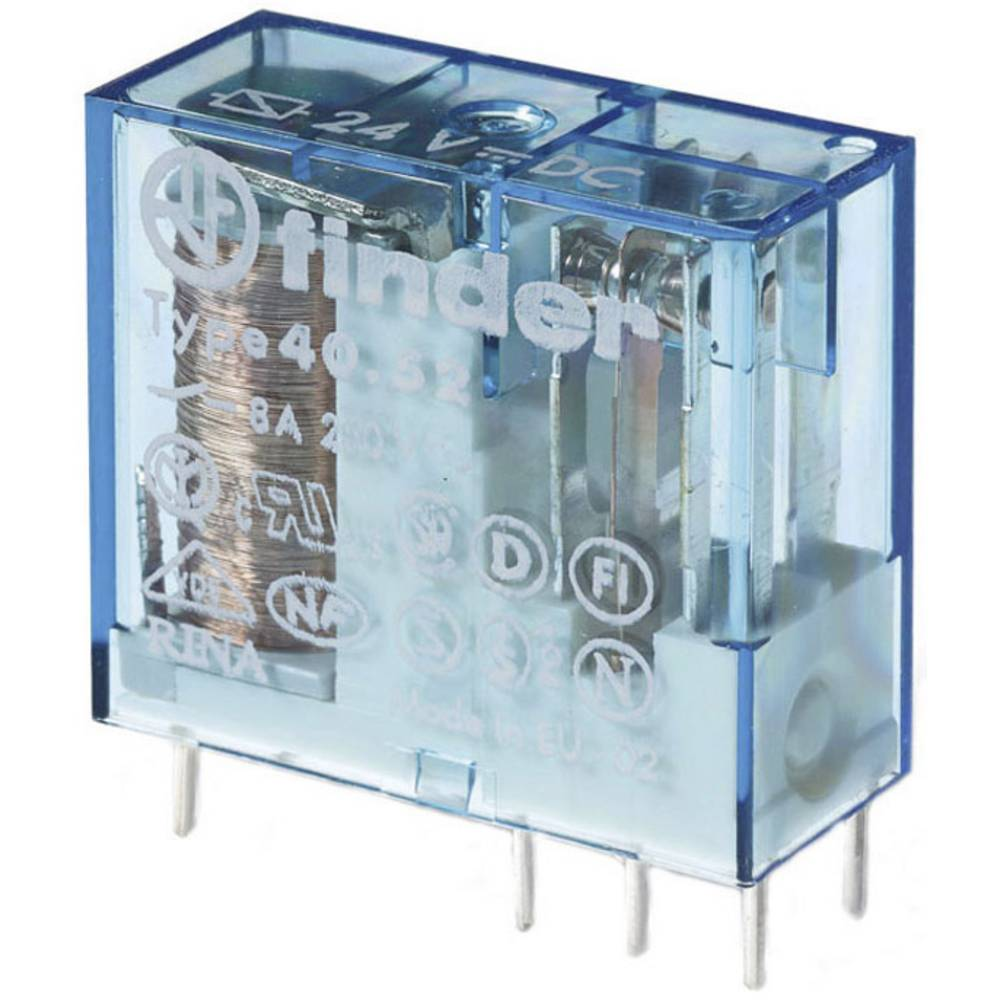Relais pour circuits imprimés Finder 40.52.9.024.5000 40.52.9.024.5000 24 V/DC 8 A 2 inverseurs (RT) 1 pc(s)