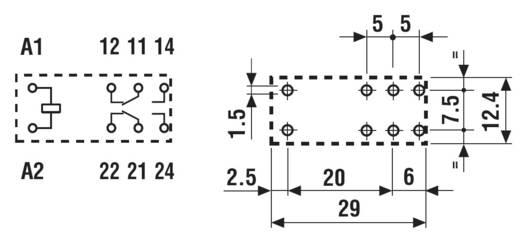 Printrelais 24 V/DC 8 A 2 Wechsler Finder 50.12.9.024.5000 1 St.