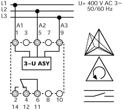 Überwachungsrelais 1 Wechsler 1 St. Finder 71.31.8.400.2000 3-Phasen, Spannung, Phasenausfall, Asymmetrie