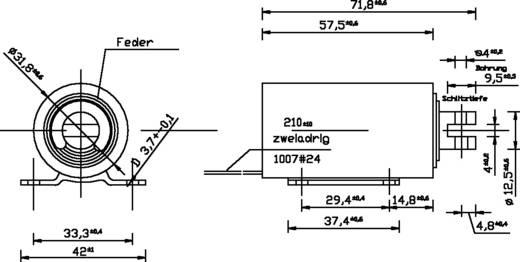 Hubmagnet ziehend 0.2 N 45 N 12 V/DC 13 W ZMF-3258z.001-12VDC,100%