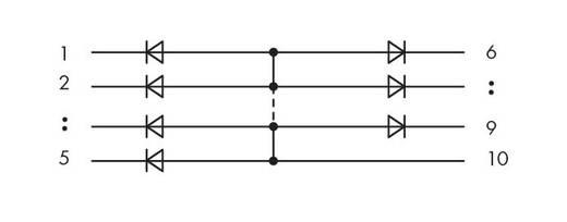Diodenbaustein 1 St. WAGO 286-803 Passend für Serie: Wago Serie 280 Passend für Modell: Wago 280-608, Wago 280-618, Wago 280-762