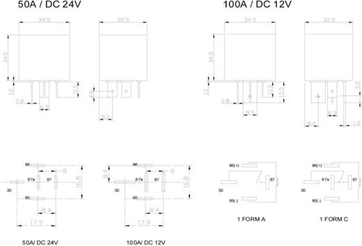 Kfz-Relais 12 V/DC 150 A 1 Schließer FiC FRC6BA-1-DC12V