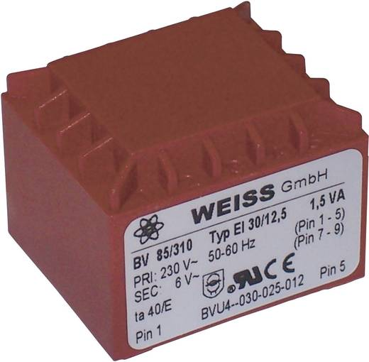 Printtransformator 1 x 230 V 2 x 15 V/AC 1.50 VA 50 mA 85/319 Weiss Elektrotechnik
