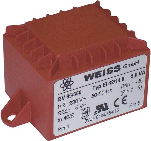 Printtransformator 1 x 230 V 1 x 24 V/AC 5 VA 208 mA 85/365 Weiss Elektrotechnik