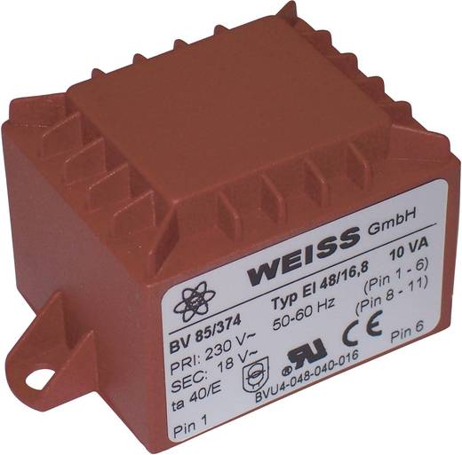 Printtransformator 1 x 230 V 2 x 6 V/AC 10 VA 833 mA 85/376 Weiss Elektrotechnik
