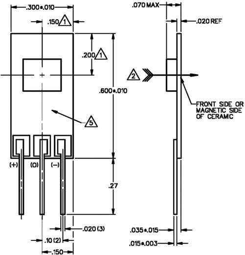 Hallsensor Honeywell SS94A1F 6.6 - 12.6 V/DC Messbereich: -0.01 - +0.01 T Print