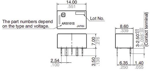 Printrelais 12 V/DC 0.5 A 1 Wechsler Panasonic ARS1012 1 St.