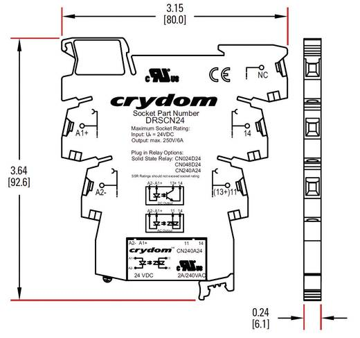 Halbleiterrelais 1 St. Crydom DRA-CN024D05 Last-Strom (max.): 3.5 A Schaltspannung (max.): 24 V/DC Nullspannungsschalten