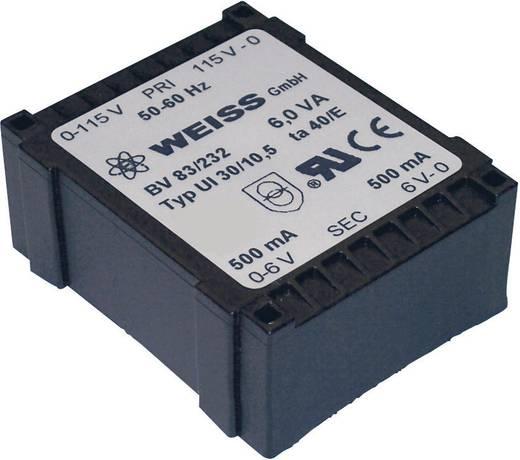 Printtransformator 1 x 230 V 2 x 15 V/AC 6 VA 200 mA 83/236 Weiss Elektrotechnik