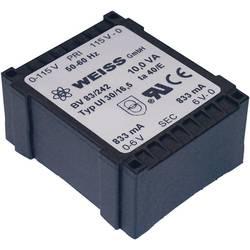 Plochý transformátor Weiss UI 30, 230 V/2x 6 V, 2x 833 mA, 10 VA