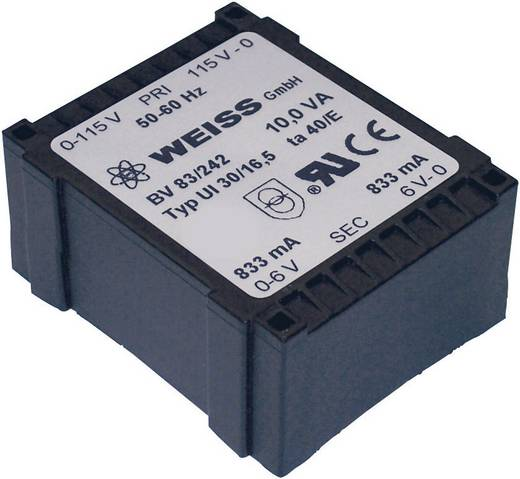 Printtransformator 1 x 230 V 2 x 6 V/AC 10 VA 833 mA 83/242 Weiss Elektrotechnik