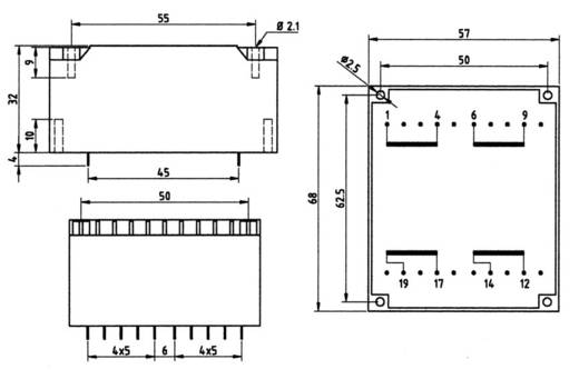 Printtransformator 2 x 115 V 2 x 18 V/AC 24 VA 667 mA 83/287 Weiss Elektrotechnik