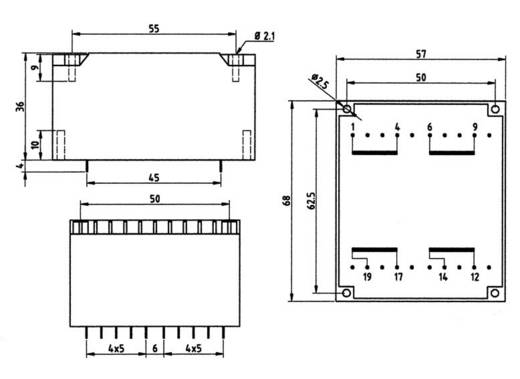 Printtransformator 2 x 115 V 2 x 15 V/AC 30 VA 1000 mA 83/296 Weiss Elektrotechnik