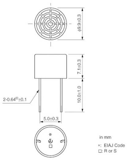 Ultraschall-Empfänger 1 St. MA40S4R Murata Reichweite (max.): 5 m Frequenz (max.): 40 kHz (Ø x H) 9.9 mm x 7.1 mm