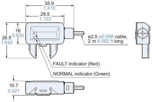 Leakagesensor 1 St. EXF72PN Panasonic Kabellänge: 2 m (L x B x H) 35.9 x 26.5 x 10.7 mm