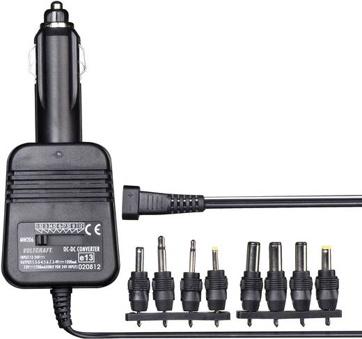 DC/DC-Kfz-Wandler VOLTCRAFT 1.5 V/DC, 3 V/DC, 4.5 V/DC, 6 V/DC, 7.5 V/DC, 9 V/DC, 12 V/DC/1.2 A