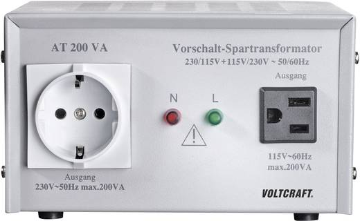 VOLTCRAFT AT-200 NV Vorschalt-Transformator, Spannungswandler, 115/230 V/AC / 230/115 V/AC / 200 W - ISO kalibriert