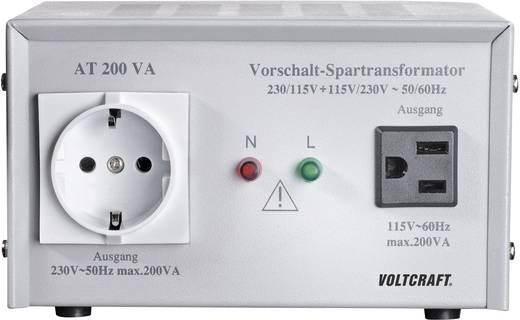VOLTCRAFT AT-200 NV Vorschalt-Transformator, Spannungswandler, 115/230 V/AC / 230/115 V/AC / 200 W
