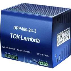 Sieťový zdroj na montážnu lištu (DIN lištu) TDK-Lambda DPP-480-24-1, 1 x, 24 V/DC, 20 A, 480 W
