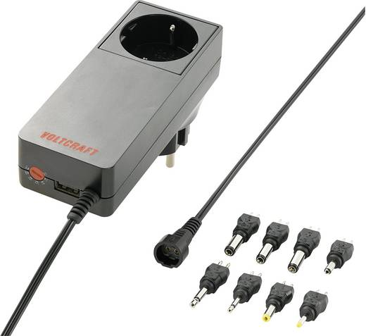 Steckernetzteil, einstellbar VOLTCRAFT PLUG-18W 5 V/DC, 6 V/DC, 9 V/DC, 12 V/DC, 15 V/DC, 18 V/DC, 24 V/DC 3000 mA 18 W