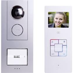 Káblový domové videotelefón m-e modern-electronics pre 1 domácnosť, strieborná, biela, kompletný set