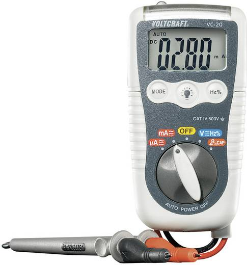 VOLTCRAFT VC-20 Hand-Multimeter digital Kalibriert nach: ISO Spritzwassergeschützt (IP54) CAT IV 600 V Anzeige (Counts):