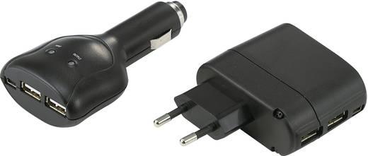 USB-Ladegerät 2er Set Steckdose, KFZ VOLTCRAFT Ausgangsstrom (max.) 1000 mA 3 x USB, Mini-USB