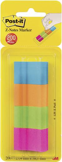3M 672-P1 XA004806296 Fuchsia, Neon-Gelb, Neon-Orange, Türkis 4 St. (L x B) 38 mm x 24.4 mm