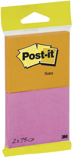 Post-it® Notes 6720-PO, 76 x 63,5 mm, neonorange, neonpink, 2 Blöcke à 75 Blatt