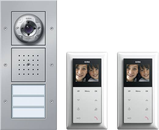Video-Türsprechanlage Kabelgebunden Komplett-Set GIRA 2 Familienhaus Aluminium