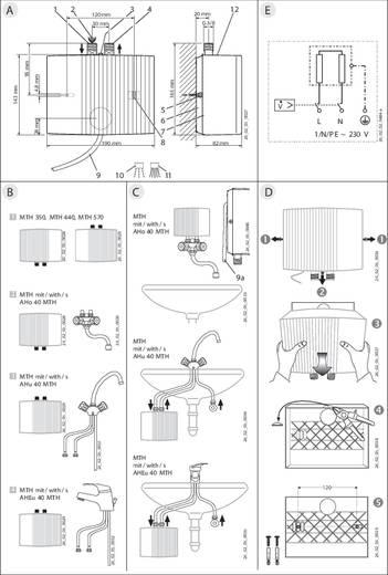 Durchlauferhitzer hydraulisch 3.5 kW 40 °C (max) AEG Haustechnik 189556 Übertischarmatur