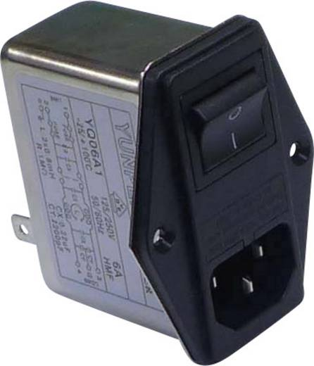 Netzfilter mit Kaltgerätebuchse, mit Schalter, mit 2 Sicherungen 250 V/AC 6 A 0.8 mH (L x B x H) 68 x 52.5 x 61 mm Yunpen YQ06A1 1 St.