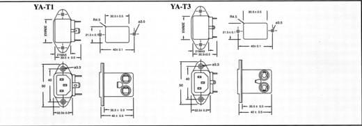 Netzfilter mit Kaltgerätebuchse 250 V/AC 3 A 1.8 mH (L x B x H) 41.7 x 50 x 34 mm Yunpen YA03T1 1 St.