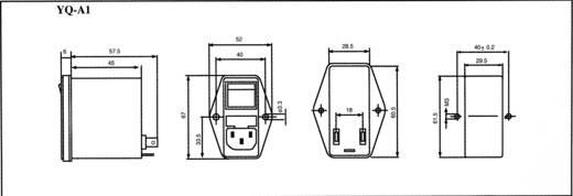 Netzfilter mit Kaltgerätebuchse, mit Schalter, mit 2 Sicherungen 250 V/AC 1 A 10.5 mH (L x B x H) 68 x 52.5 x 61 mm Yunp