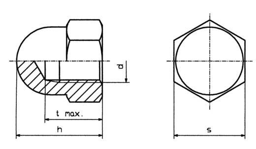 Sechskant-Hutmuttern M6 DIN 1587 Stahl verzinkt 10 St. TOOLCRAFT M6 D1587-STAHL:A2K 194789