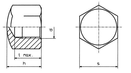 Sechskant-Hutmuttern M4 Stahl verzinkt 10 St. TOOLCRAFT M4 D917-STAHL:A2K 194783