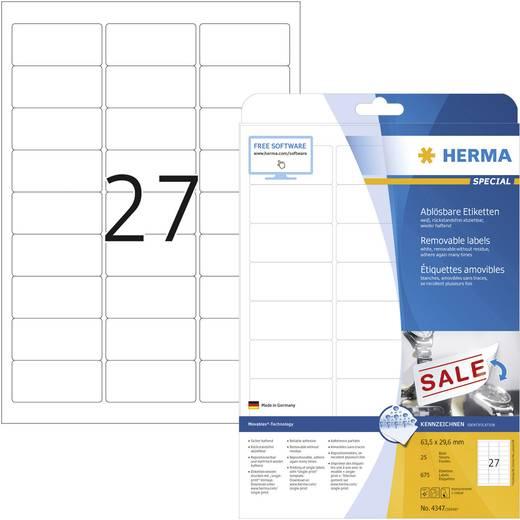 Herma 4347 Etiketten (A4) 63.5 x 29.6 mm Papier Weiß 675 St. Wiederablösbar Universal-Etiketten Tinte, Laser, Kopie