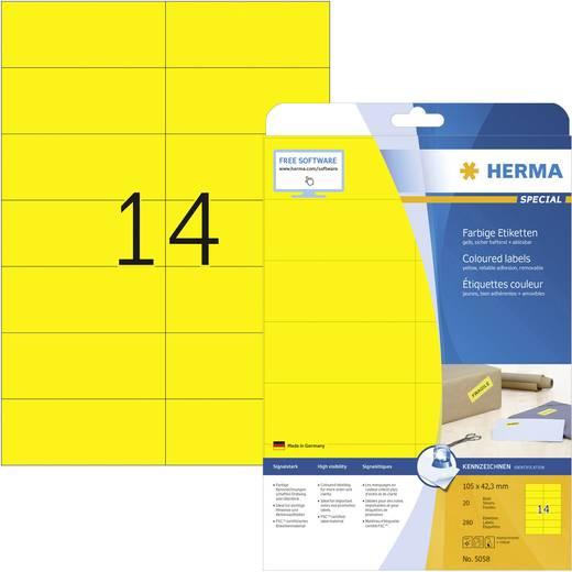 Herma 5058 Etiketten (A4) 105 x 42.3 mm Papier Gelb 280 St. Permanent Universal-Etiketten, Signal-Etiketten Tinte, Laser