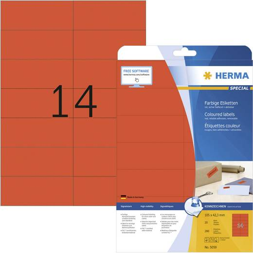 Herma 5059 Etiketten (A4) 105 x 42.3 mm Papier Rot 280 St. Permanent Universal-Etiketten, Signal-Etiketten Tinte, Laser,