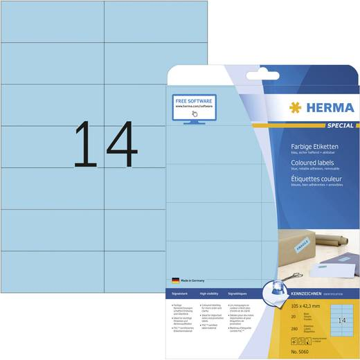 Herma 5060 Etiketten (A4) 105 x 42.3 mm Papier Blau 280 St. Permanent Universal-Etiketten, Signal-Etiketten Tinte, Laser