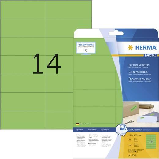 Herma 5061 Etiketten (A4) 105 x 42.3 mm Papier Grün 280 St. Permanent Universal-Etiketten, Signal-Etiketten Tinte, Laser, Kopie