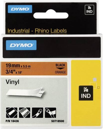Schriftband DYMO IND RHINO 18436 Vinyl Bandfarbe: Orange Schriftfarbe:Schwarz 19 mm 5.5 m