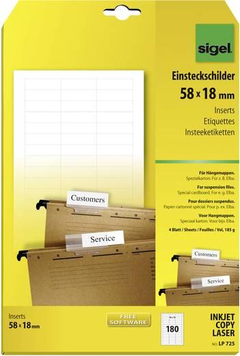 Sigel Einsteckschilder für Hängemappen/LP725 58x 18 mm (A4) weiß 185 g Inh.180