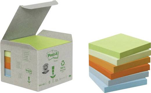 Post-it Haftnotizen Recycling/6541GB 76 x 76 mm Pastell Inh.6
