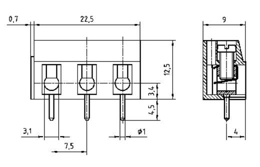 Schraubklemmblock 2.50 mm² Polzahl 3 AK 110/3DS-7,5-V PTR Grau 1 St.
