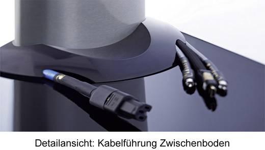 """VCM TV Standfuß """"Bilano Silber"""" mit Zwischenboden Schwarzglas inkl. Rollen"""