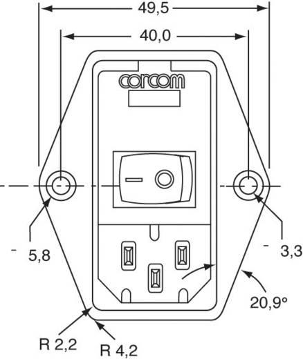 Netzfilter mit Schalter, mit 2 Sicherungen, mit Kaltgerätebuchse 250 V/AC 3 A TE Connectivity PE0S0DS3A=C1254 1 St.