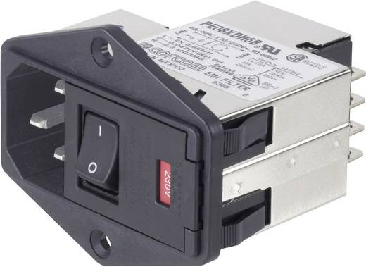 Netzfilter mit 2 Sicherungen, mit Kaltgerätebuchse 250 V/AC 3 A TE Connectivity PE00XDS3B=C2352 1 St.