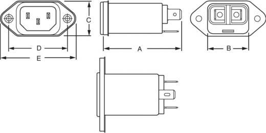 Netzfilter mit Kaltgerätebuchse 250 V/AC 1 A 10 mH TE Connectivity 6609006-1 1 St.