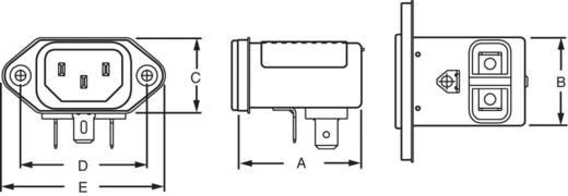 Netzfilter mit Kaltgerätebuchse 250 V/AC 3 A 1.5 mH TE Connectivity 6609006-6 1 St.